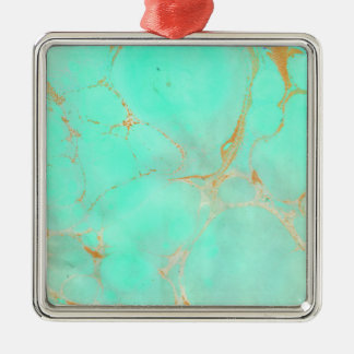 ミント及び金ゴールドの大理石の抽象芸術の水のティール(緑がかった色)によって絵を描かれる一見 メタルオーナメント