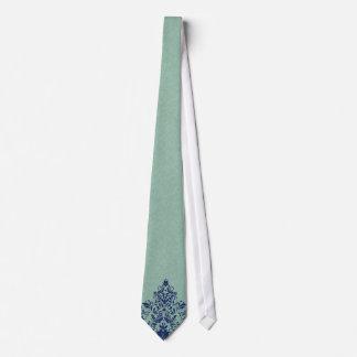 ミント緑のリネン質の青い花のレース オリジナルタイ