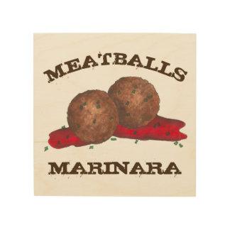 ミートボールのMarinaraのイタリアンな食糧料理の台所 ウッドウォールアート