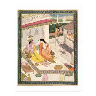ムガール人宮殿のベッドのKrishnaそしてRadha、Punj ポストカード