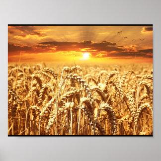 ムギの金ゴールド金分野の農場の収穫 ポスター