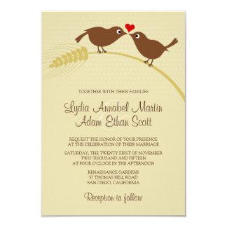 """ムギ3.5""""の鳥をx5""""結婚式招待状愛して下さい カード"""