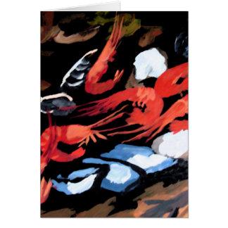 ムラサキ貝およびエビが付いている静物画 カード