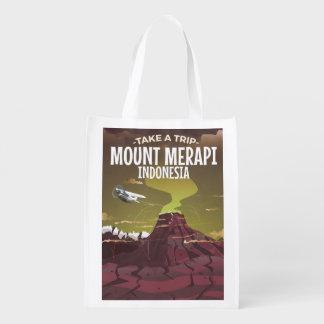ムラピ山インドネシアのヴィンテージの漫画ポスター エコバッグ