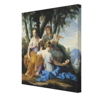 ムーサ、Clio、エウテルペおよびタリア、c.1652-55 キャンバスプリント