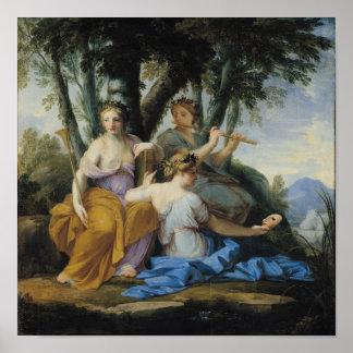 ムーサ、Clio、エウテルペおよびタリア、c.1652-55 ポスター