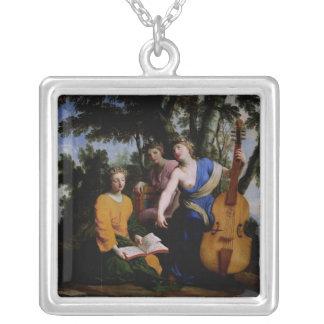ムーサMelpomene、EratoおよびPolymnia 1652-55年 シルバープレートネックレス