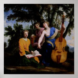 ムーサMelpomene、EratoおよびPolymnia 1652-55年 ポスター