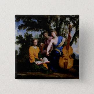 ムーサMelpomene、EratoおよびPolymnia 1652-55年 5.1cm 正方形バッジ