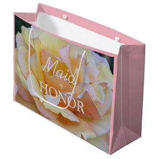 メイド・オブ・オーナー(花嫁付き添い人)のパステルのバラの花柄 ラージペーパーバッグ