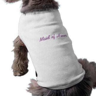"""""""メイド・オブ・オーナー(花嫁付き添い人)""""の小犬のティー 犬用袖なしタンクトップ"""