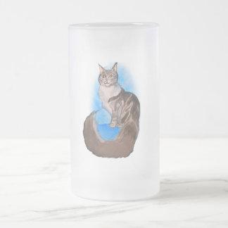 メインのあらいぐま猫 フロストグラスビールジョッキ