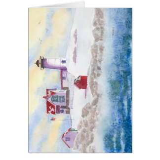 メインのこぶの灯台の冬 グリーティングカード