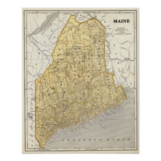 メインの地図書の地図 ポスター
