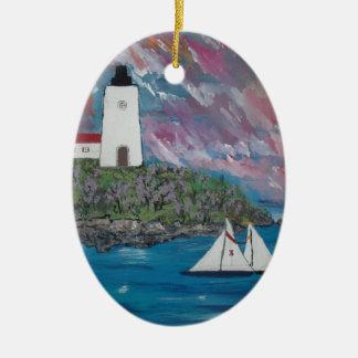 メインの灯台絵画 セラミックオーナメント