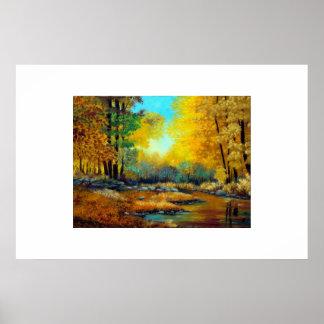 メインの紅葉の川の木 ポスター