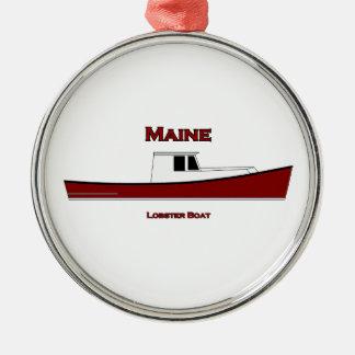 メイン米国のロブスターのボートのロゴ メタルオーナメント