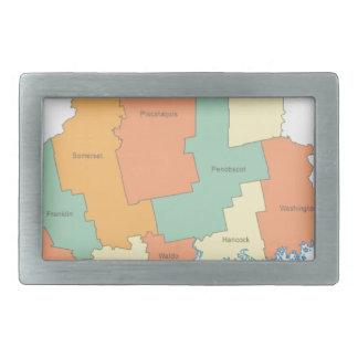 メイン郡地図 長方形ベルトバックル