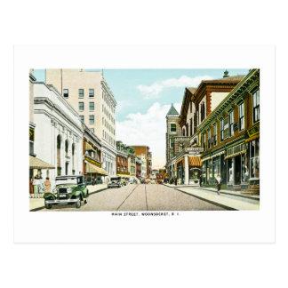 メイン・ストリート、Woonsocket、ロードアイランド ポストカード