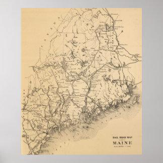 メイン(1894年)のヴィンテージの地図 ポスター
