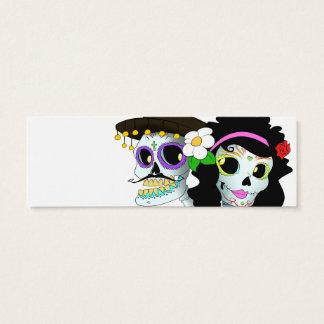 メキシコお祝いのスカルのカップル スキニー名刺