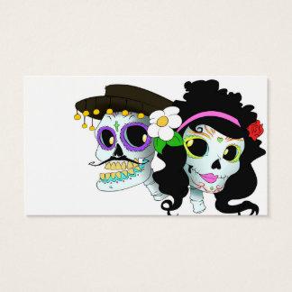 メキシコお祝いのスカルのカップル 名刺