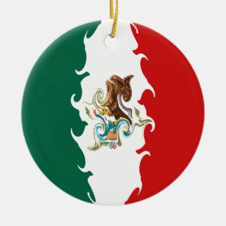 メキシコのすごい旗 陶器製丸型オーナメント