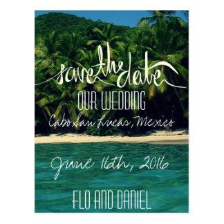 メキシコのビーチ結婚式の保存日付 ポストカード