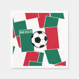 メキシコのフットボールの旗 スタンダードカクテルナプキン
