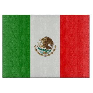 メキシコの国旗のガラスまな板 カッティングボード