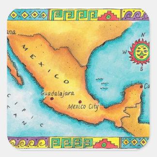 メキシコの地図 スクエアシール