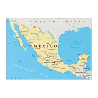 メキシコの政治地図 アクリルウォールアート