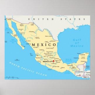 メキシコの政治地図 ポスター