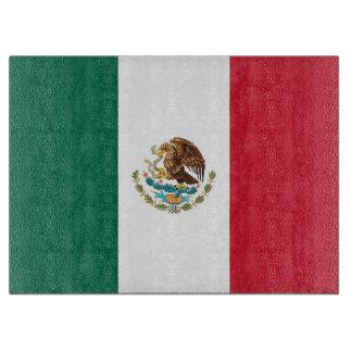 メキシコの旗を持つガラスまな板 カッティングボード