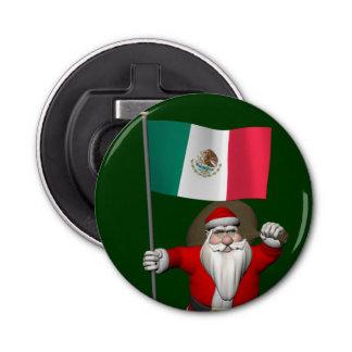 メキシコの旗を持つサンタクロース 栓抜き