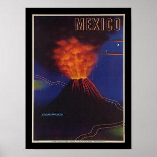 メキシコの火山アールデコのヴィンテージポスター ポスター