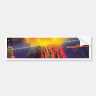メキシコの火山旅行ポスター バンパーステッカー