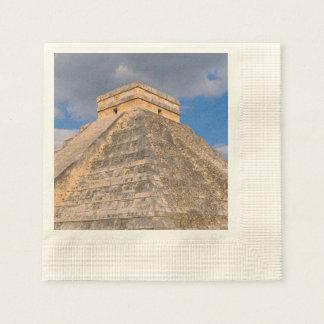メキシコのChichen Itzaの台なし 縁ありカクテルナプキン