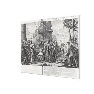 メキシコインディアンとフランス人間の貿易 キャンバスプリント