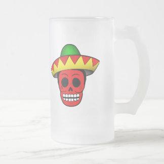 メキシコスカルのデザイン フロストグラスビールジョッキ