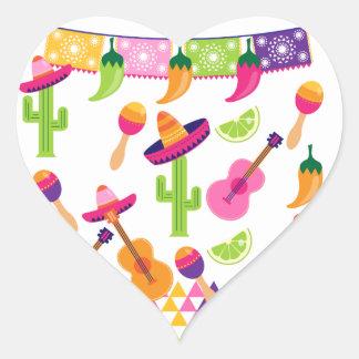 メキシコフェスタのパーティーのソンブレロのサグアロのライムのコショウ ハートシール