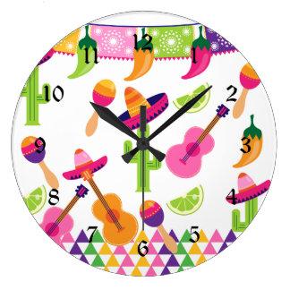 メキシコフェスタのパーティーのソンブレロのサグアロのライムのコショウ ラージ壁時計