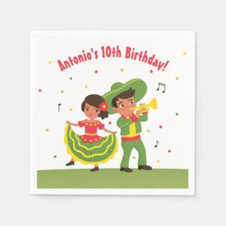 メキシコフェスタのヒスパニックの子供の誕生日のパーティーのナプキン スタンダードカクテルナプキン