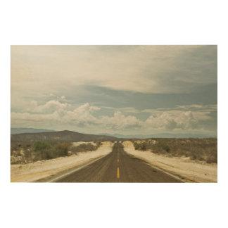メキシコ人のBajaの景色による長い直線道路 ウッドウォールアート