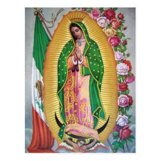 メキシコ旗の郵便はがきが付いているグアダルペの私達の女性 ポストカード