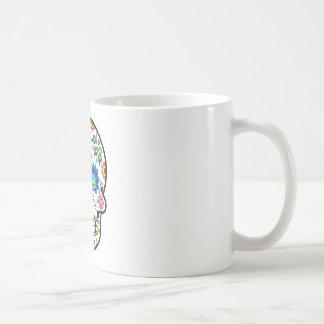 メキシコ砂糖のスカルのマグのポーランドの花のフォーク コーヒーマグカップ