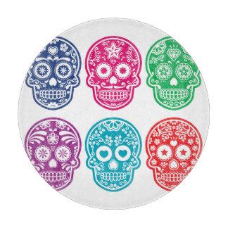 メキシコ砂糖のスカル、Dia De Los Muertos Colorful カッティングボード