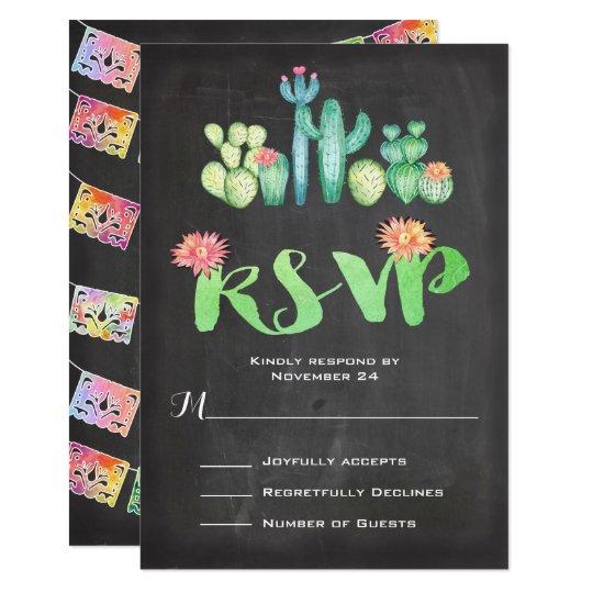 メキシコ結婚式の水彩画のサボテンRSVP カード
