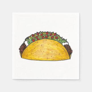 メキシコ食糧堅い貝のタコスのタコスのプリントのナプキン スタンダードカクテルナプキン