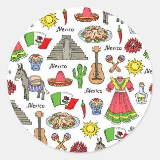メキシコ|の記号パターン ラウンドシール